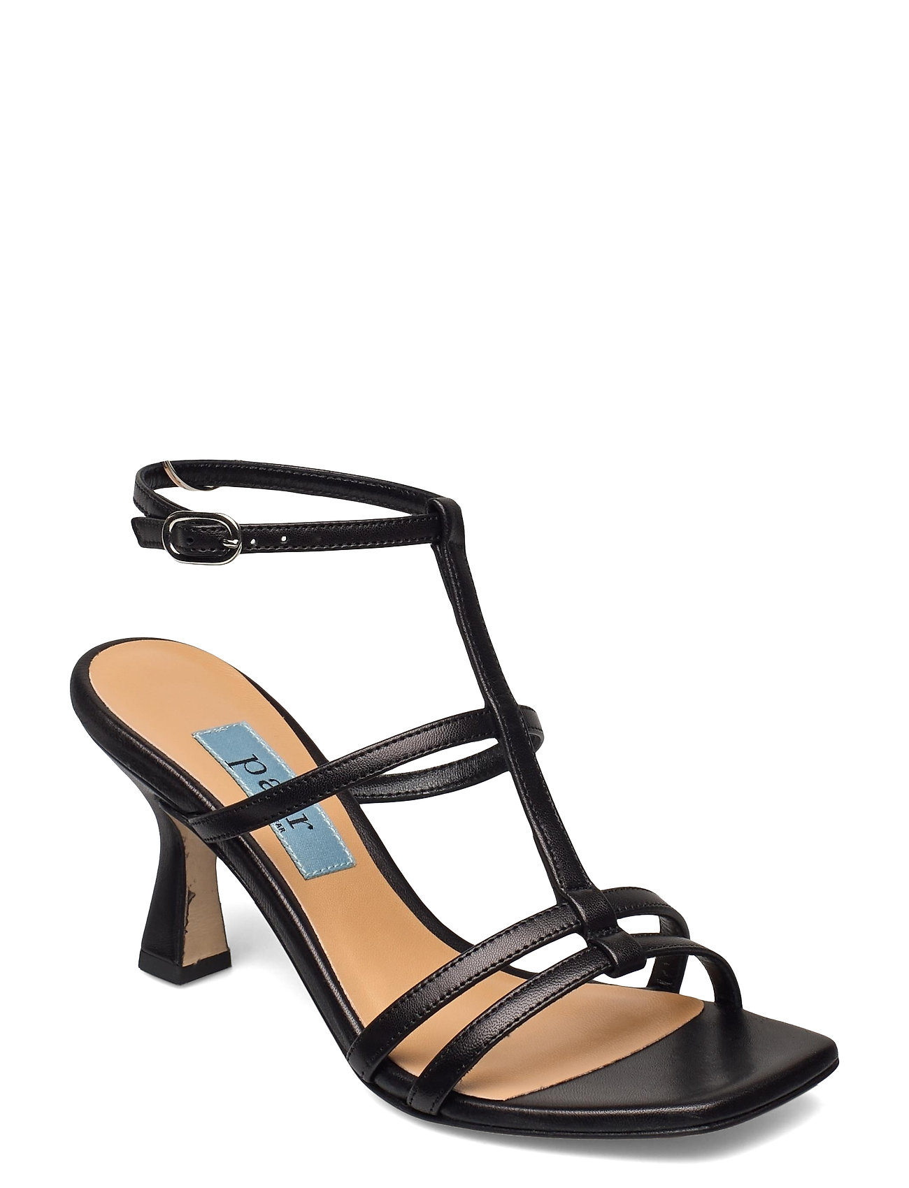 Square String Ancle Sandal Med Hæl Sort Apair