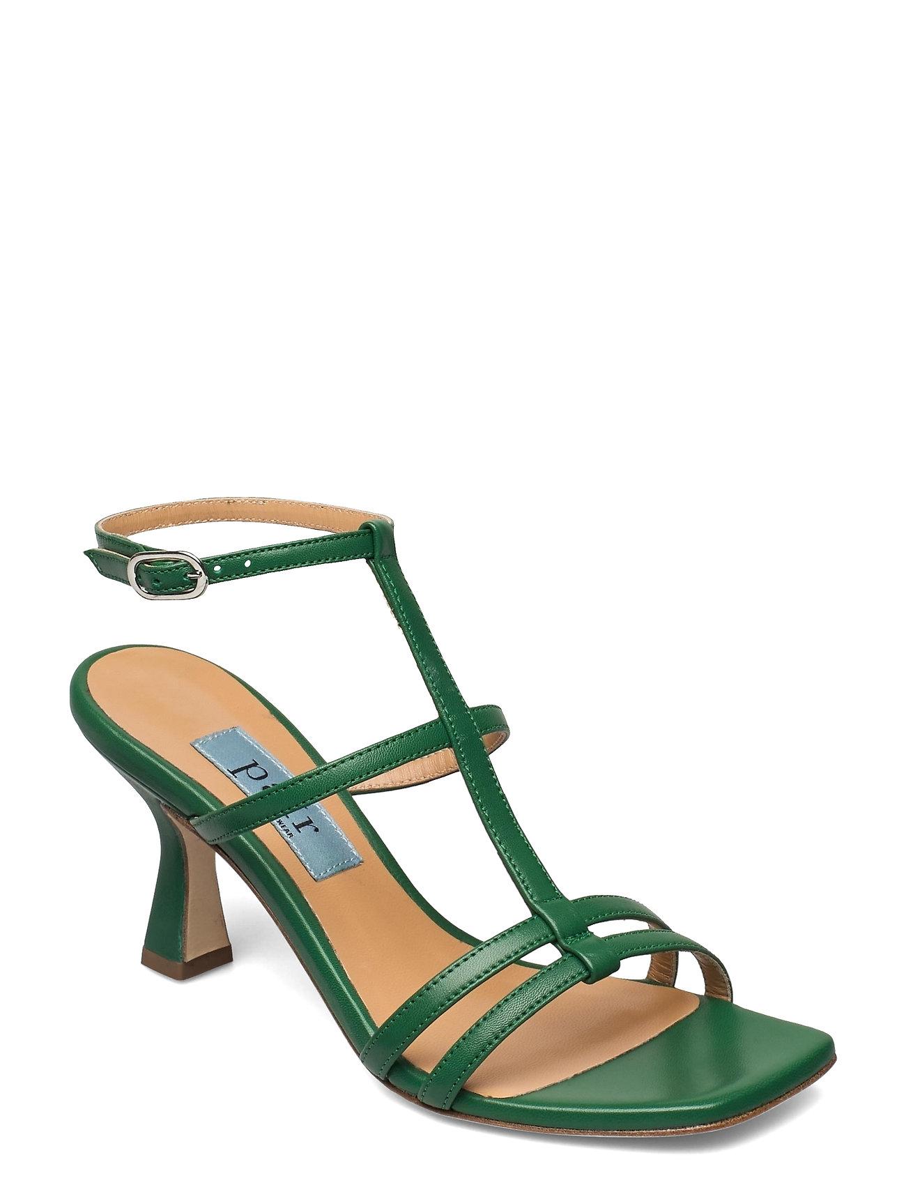 Square String Ancle Sandal Med Hæl Grøn Apair