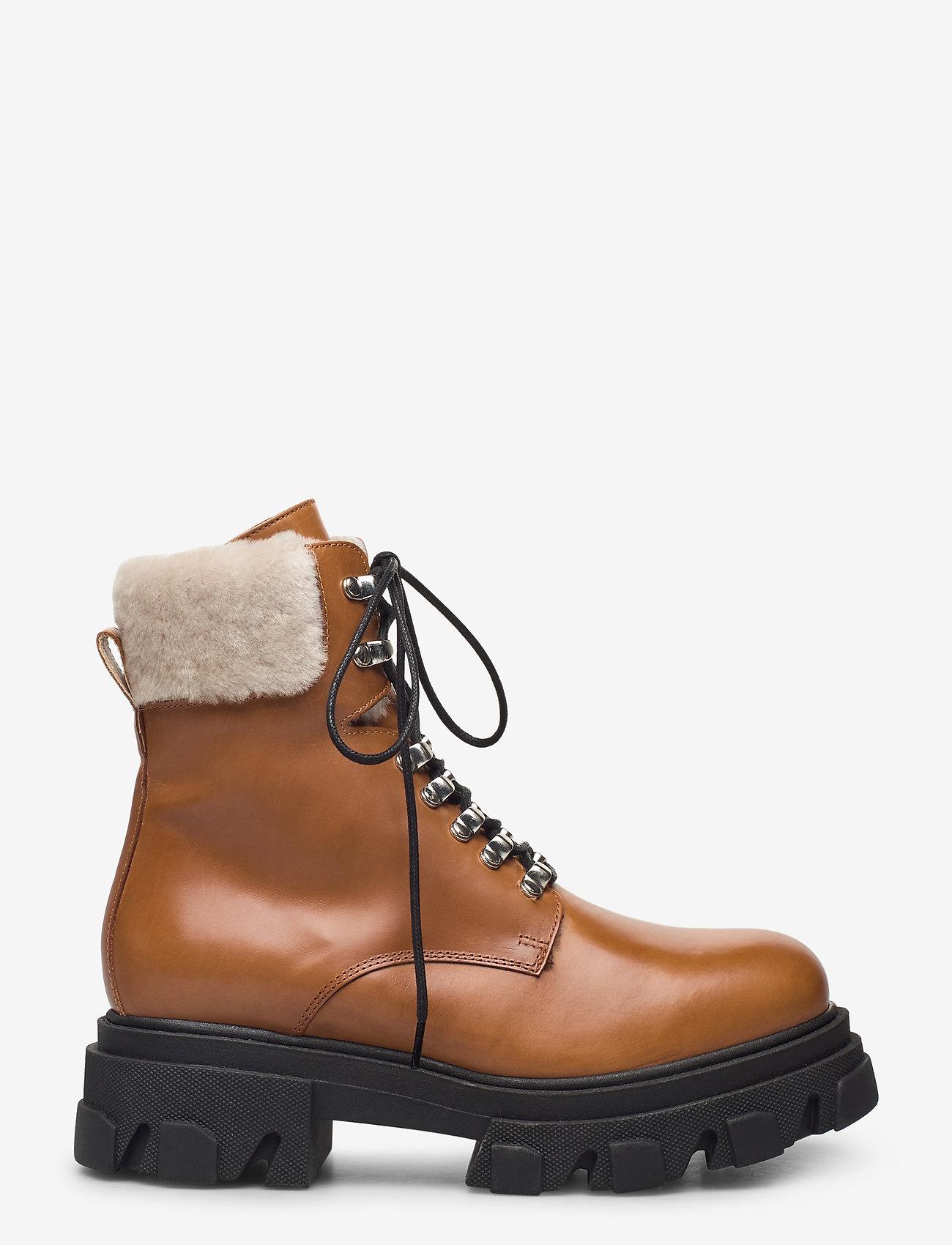 Apair - Chuncky ski - flat ankle boots - cognac - 1