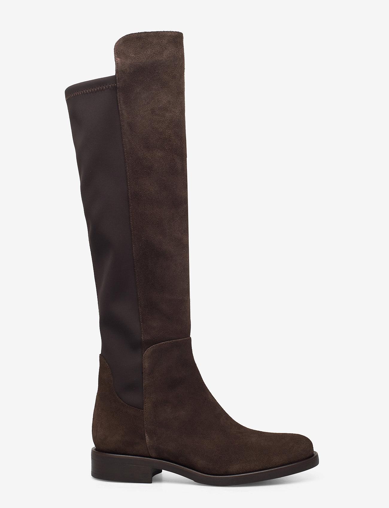 Apair - Flat long classic boot with elastic - lange laarzen - dark brown - 1