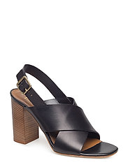 Cross sandal chunky heel - BLACK