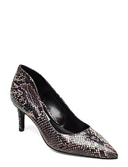 Pointed low pump high back - BROWN PYTHON PRINT