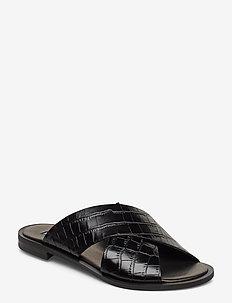 Wide cross round - płaskie sandały - black