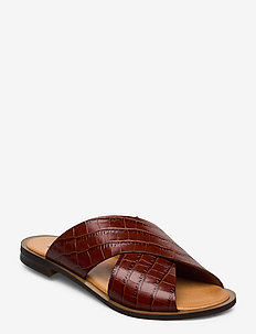 Wide cross round - flat sandals - cuoio