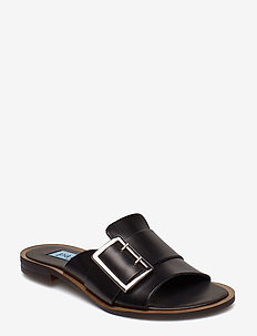 Big buckle flat sandal - NERO