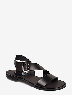 Asymetric buckle sandal - NERO