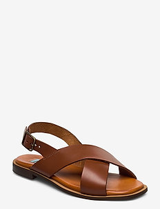 Cross classic square - flat sandals - bruciato