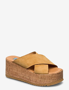 Cork wedge cross - wedges - camel
