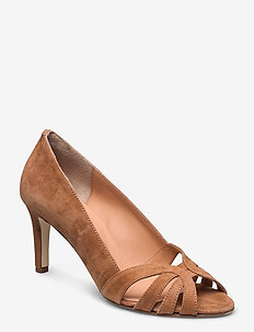 Open toe pump string - klassiske pumps - cognac