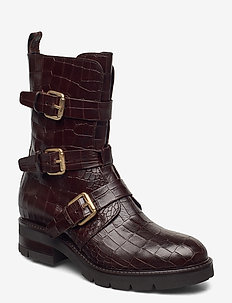 Bikerboot - flate ankelstøvletter - dark brown