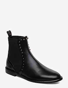 Flat with rivets - flat ankle boots - black