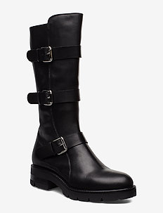 Long biker - høye boots - black