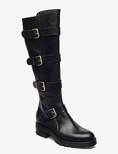 X-long biker - høye boots - black