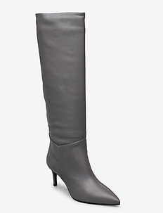 Long low stiletto - høye boots - grey