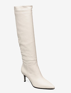 Long low stiletto - lange laarzen - off white