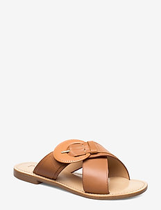 Buckle luxury sandal - COGNAC