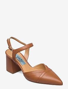 Multi pointed low chuncky heel - sling backs - cognac