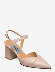 Multi pointed low chuncky heel - sling backs - polevere (taupe)