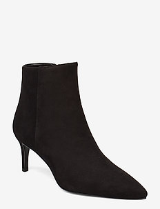 Pointed bootie low high front - wysoki obcas - black