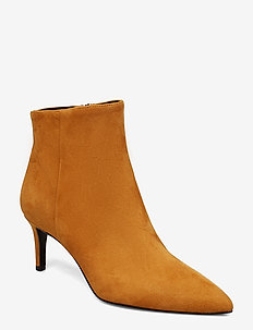 Pointed bootie low high front - COGNAC