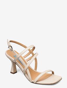 Square string  sandal - new heel - højhælede sandaler - tapioca (off white)
