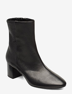 Plan low rounded bootie - BLACK LEATHER