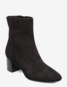 Plan low rounded bootie - wysoki obcas - black suede