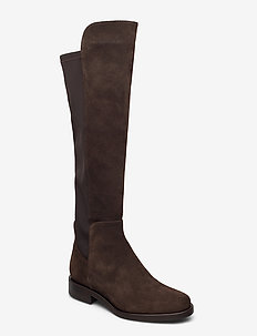 Flat long classic boot with elastic - høye boots - dark brown