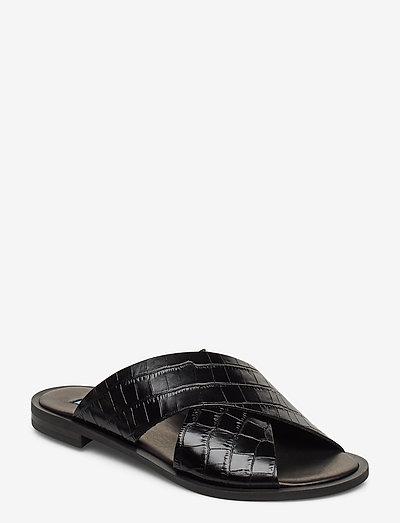 Wide cross round - platta sandaler - black