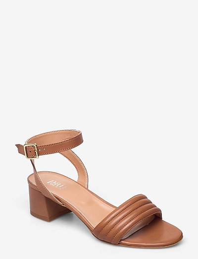 Padded dimpel sandal - högklackade sandaler - cuoio
