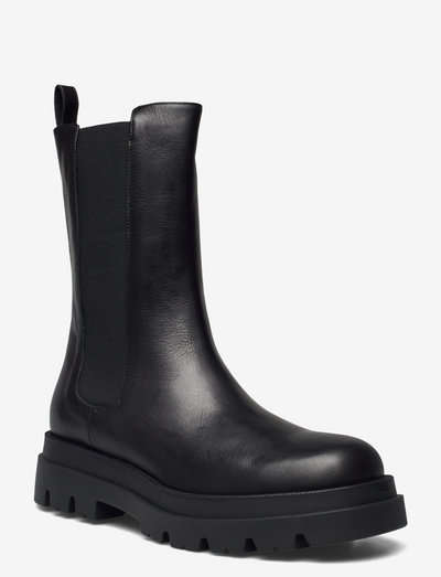 New square chuncky elastic - chelsea boots - nero