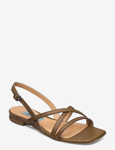 String flat square - platta sandaler - kaki