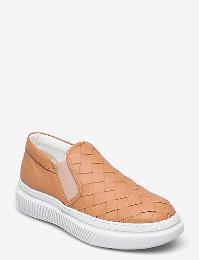 Wide braided chuncky slip on - slip-on sneakers - cognac