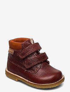 Tex Boot with velcro - lær-å-gå-sko - rust