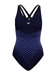 W MAIA CRISS CROSS BACK ONE PIECE - NAVY-BRIGHT BLUE