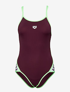 W TEAM STRIPE SUPER FLY BACK ONE PIECE - RED WINE-SHINY GREEN