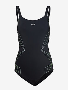 W PENELOPE WING BACK ONE PIECE - BLACK WHITE