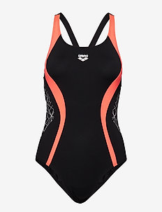 W BALANCE V BACK ONE PIECE - BLACK-SHINY PINK