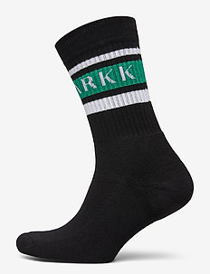 The High Sock - Striped Black Soft - regular socks - black soft teal