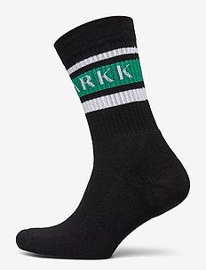 The High Sock - Striped Black Soft - vanlige sokker - black soft teal
