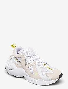 Tuzon Suede W13 White Neon Yellow - - chunky sneakers - white neon yellow