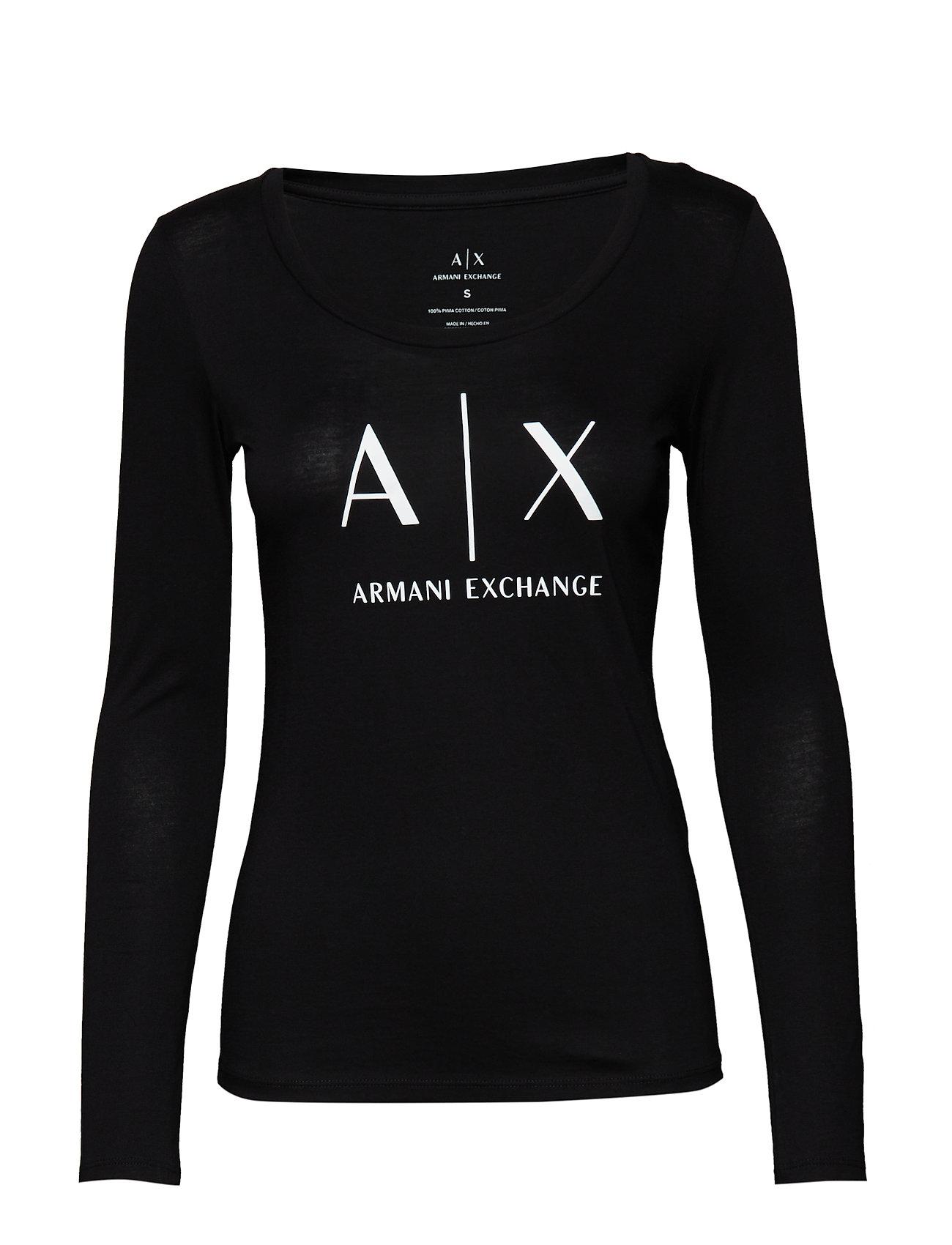 Image of Woman Jersey T-Shirt Langærmet T-shirt Sort ARMANI EXCHANGE (3132352413)