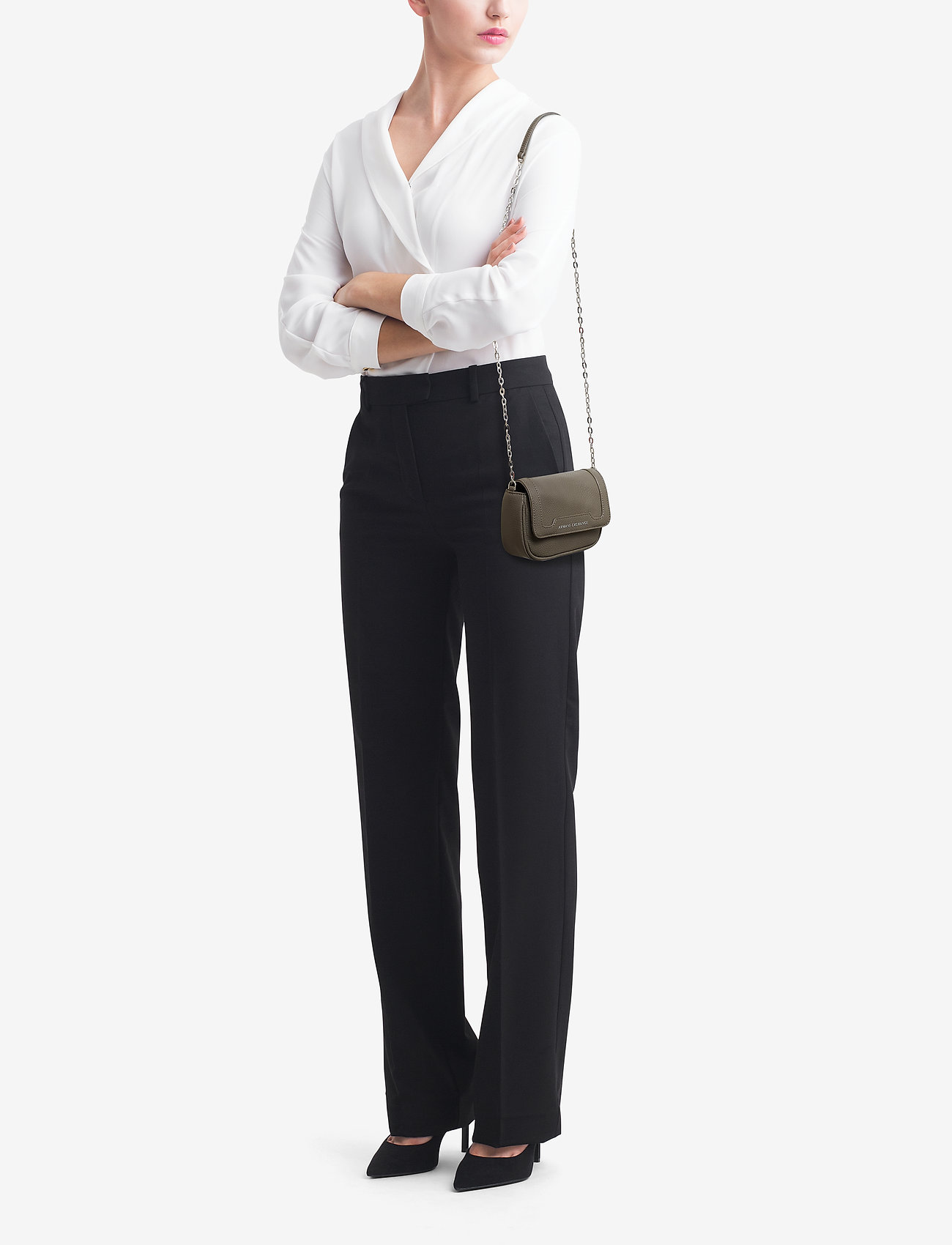 Armani Exchange WOMAN PVC/PLASTIC SHOULDER BAG - TAUPE
