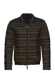 MAN WOVEN DOWN JACKET - MILITARY GREEN/BLACK