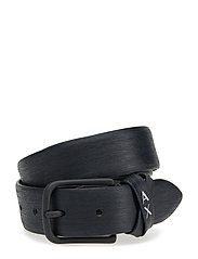 MAN LEATHER TONGUE BELT - NAVY