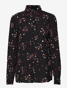 WOMAN WOVEN SHIRT - blouses à manches longues - black gr/all over pr