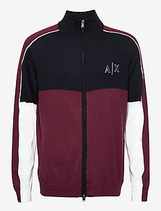 ARMANI EXCHANGE CARDIGAN - basic knitwear - grape wine/navy/whit
