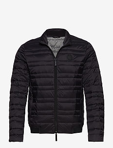 MAN WOVEN DOWN JACKET - BLACK/HTR GREYBC09