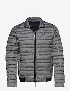 MAN WOVEN DOWN JACKET - HTR GREY/NAVY