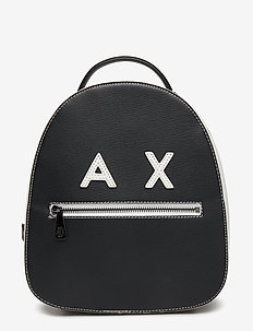 WOMAN PVC/PLASTIC BACKPACK - BLACK/WHITE